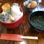 30688532 - 生しらすと地魚丼\1490+あおさの味噌汁\100(サービス価格)