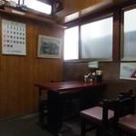 松林堂 - 店内は4人用テーブル4卓