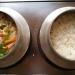 釜めし まこと - 野菜釜めし、定食ご飯炊き上がり