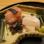 日本料理 太月 - 26年8月 お造り 北海道噴火湾メジマグロ、熟成大分天然カンパチ、水前寺海苔