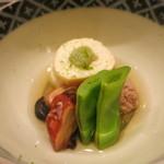 日本料理 太月 - 26年8月 炊き合わせ 鴨丸、蓮芋、蛸柔らか煮、モロッコインゲン(あちき)
