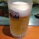 お好み焼き 八昌 - 生ビール (一口飲んだ後)
