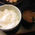 30702909 - ごはん(お代わり自由)と味噌汁、ランチセット@2014/3/15