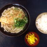 人力うどん - えび天うどん¥430と白御飯¥140