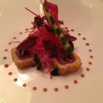 30710657 - 近海産マグロのマリネ ポレンタの食感と共に 幻のスターレット種のキャビアを添えて