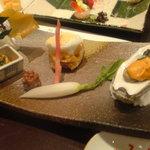築地 寿司岩 - あわび:牡蠣:アンキモ