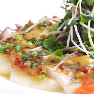 DAISHIN鮮魚のカルパッチョ生ウニとイクラの海鮮ソース