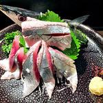 和食処 まる - サンマの刺身(2014年9月)