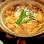 煮込みうどん 二橋 - 粒味噌 親子1450円+きのこ三昧450円