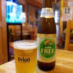 まんぷく食堂 - ノンアルコールビール(¥350)。キリンフリーをオリオンのグラスで(^-^;)