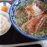 紺のれん - ねぎ豚醤油ラーメンごはんセット 800円+100円
