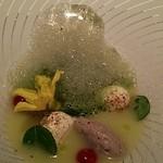 30835489 - 鮎のムースとマスカルポーネチーズとキュウリのスープ