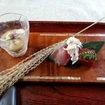 30844945 - なすの冷製、鯖寿司、近江こんにゃく