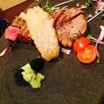 ワショク 波紋 - 短角牛 ステーキ アケビの天ぷら添え