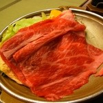 あさや - 鍋物 国産霜降り牛の陶板なべ