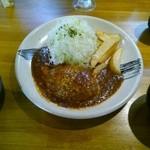 平田牧場 とんや - デミグラスハンバーグステーキ膳(1200円)、トッピング:チーズ(100円)