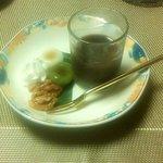 別亭 空海 - 水菓子(抹茶白玉・水ようかん・胡桃)(2014.9)