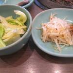 30876851 - 焼肉ランチのサラダ(左)、ナムル&キムチ(右)