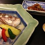 蕎酒季菜 玄武庵 - 鯛の酒蒸しとチリ酢。イカの肝漬けのルイベ♡
