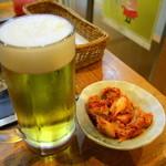 風月 - キムチと生ビール