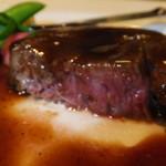 ノーザンテラスダイナー - 和牛ヒレ肉ステーキコース 7000円 和牛ヒレ肉ステーキの断面 【 2014年9月 】