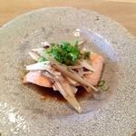 てりょうり おおや - 秋鮭とゴボウの蒸し焼き