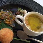 30901566 - 前菜盛り合わせ:蛸とセロリのサラダ・イサキのカルパッチョ からすみのパウダー・ライスコロッケ