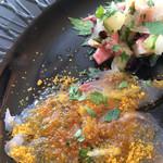 30901582 - 前菜盛り合わせ:蛸とセロリのサラダ・イサキのカルパッチョ からすみのパウダー・ライスコロッケ