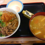 松屋 - プレミアムおろし牛丼大盛り 620円   豚汁セット 半熟玉子付 230円