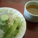 3091330 - ランチセットのスープとサラダ
