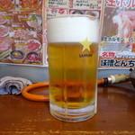 駅西ホルモン - 生ビール メガ! \990