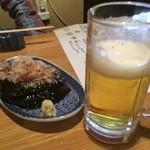 串長 - 揚げ茄子 ビール
