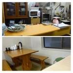 柳橋食堂 - 肴屋さん店舗の1階でメニューを決めお支払いを済ませ、2階で頂くシステム。 調理は1階でされています。