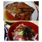 柳橋食堂 - アラ炊きは鯛の頭、、身は少ないですが甘辛く煮こまれていて美味しい。 海鮮丼は「イサキ・鮭・カンパチ」などが入っていました。 キレイな切り身ではないですけれどね。ミニといってもボリュームがありました。
