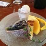 仙人掌 - デザート  マロンアイスと、タルト二種。宇治抹茶&黒豆、バナナココナッツ
