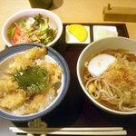 手打ち蕎麦・うどん 彩め - 「小海老天丼セット」800円
