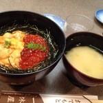 知床料理 一休屋 - 丼を頼むとお味噌汁も付いてきます。