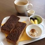 角パン専門店Cafe&マルシエルブ - シナモントーストセット(1050円)