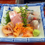 すし処 いけ田 - 料理写真:刺身三種、キンメ、アジ、赤貝