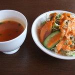 30932187 - 日替わりランチ(\780)のスープとサラダ