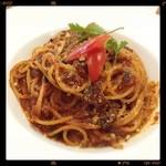 サクラサイドテラス - トマトパスタをチョイス。スープにも使われていた燻製ベーコンがふんだんに使われてるポロネーズです、めちゃくちゃ美味い❗️*✧₊✪͡◡ू✪͡
