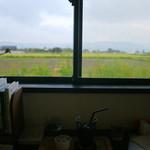 ヒバリカフェ - 窓から見える田園風景