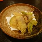 和ごころ 喜心 - 天ぷら:椎茸、南瓜、ヤングコーン、ゴーや、魚、しし唐