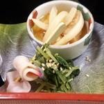 30960159 - 南蛮漬けの小鉢と水菜のお浸し、鯨ベーコン