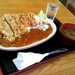 とびこみや - Bigかつカレー☆ライス大盛り&みそ汁(2014/9現在)