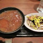 小野の離れ - フカヒレの茶碗蒸しと、マツタケと揚げナスのあんかけ。