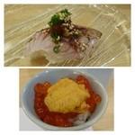 30989332 - 雲丹いくら・・福岡ではこういう出し方するお店が多いように思います。雲丹は赤うにで甘い。