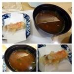 30989335 - 赤だしと先ほどの車海老の頭の天ぷら・・車海老の頭は天ぷらにすることで甘くなります。                       赤だしはいいお味噌を使用されているのか美味しい。中には「なめこ」が入っていました。