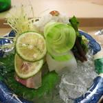 京料理かねき - お造り 鯛 鱧落とし 剣先イカ