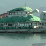 猪苗代湖畔のレストラン 中国料理 西湖 - カメの親子の遊覧船が帰ってきました!